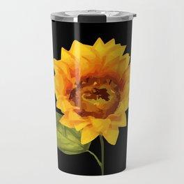 one big yellow Sunflower Blossom - black background Travel Mug