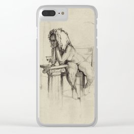 'The Unwinding' Charcoal Drawing Nude woman drinking Wine Clear iPhone Case