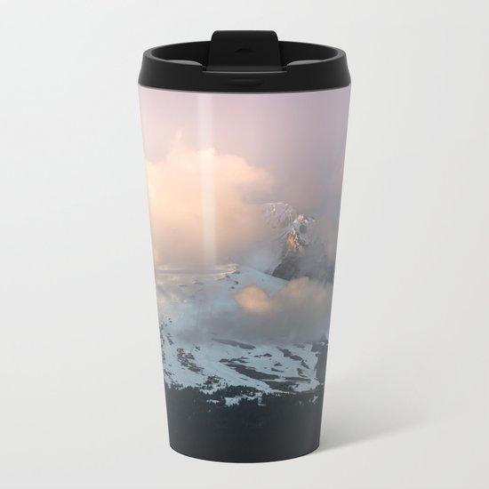 Pink Fog Mountain Morning Metal Travel Mug