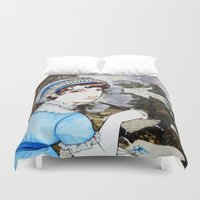 jane austen Duvet Covers featuring Jane Austen by Makissima