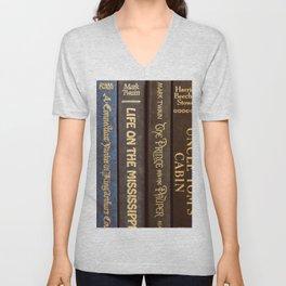 Old Books - Square Twain Unisex V-Neck