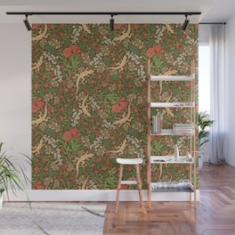 Beige lizard among pomegranate flowers and acacia false on brown background Wall Mural