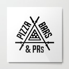 Pizza, Bars and PRs Fitness Triangle v2 Metal Print