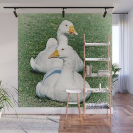 Geese Duet - one left one right Wall Mural