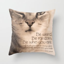 Wise Tabby Cat Throw Pillow