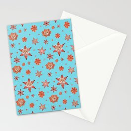 Cats on flowers with sky blue background Stationery Cards