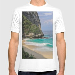 Blue Ocean Waves and Rocky Cliff T-shirt