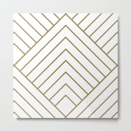 Diamond Series Pyramid Gold on White Metal Print