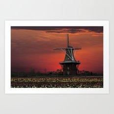 The deZwaan Dutch Windmill at Sunset Art Print
