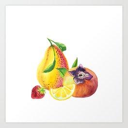 Pear, Persimmon, Lemon and Strawberry Art Print