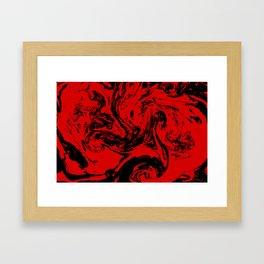 Red & Black liquid ink Framed Art Print