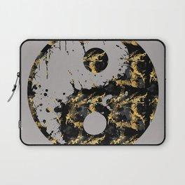 Abstract YIN AND YANG Taijitu Symbol | grey &gold Laptop Sleeve