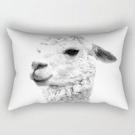 Black and white llama animal portrait Rectangular Pillow