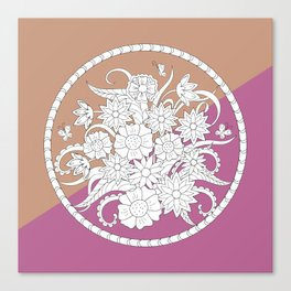 geometric pattern with bouquet into mandala Canvas Print