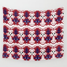 Ikat pattern red Wall Tapestry