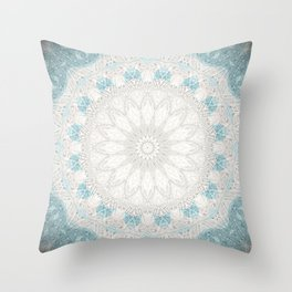 Bohemian Sea Foam Blue Creme Mandala Throw Pillow