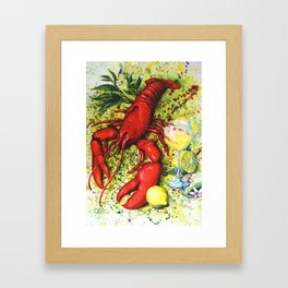 Lobster and Wine Framed Art Print