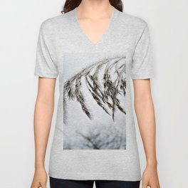 frozen grass in blck and white Unisex V-Neck