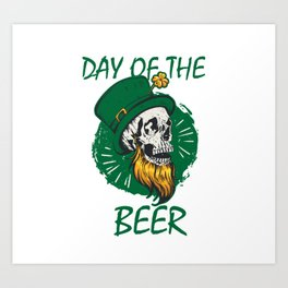 Funny skull Day of the beer Saint patrick day tee Art Print