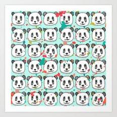 splatter pop panda cookies mint Art Print