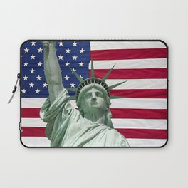 Statue of Liberty and American Flag Laptop Sleeve