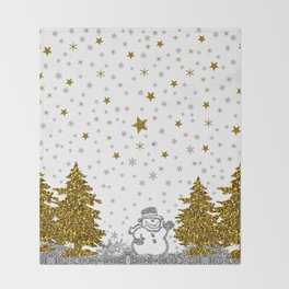 Beautiful glitter New Year on white Throw Blanket