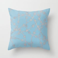 Trapped Ice Blue Throw Pillow