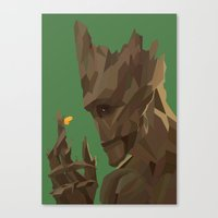groot Canvas Prints featuring Groot by tophatmonster