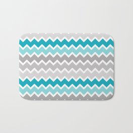 Turquoise Teal Blue Gray Chevron Bath Mat