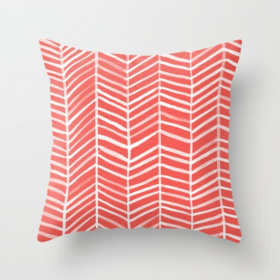 Coral Herringbone Throw Pillow