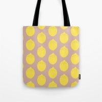lemon Tote Bags featuring Lemon by Grace