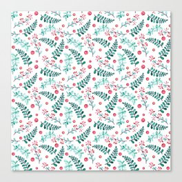 Teal green red watercolor berries leaves floral illustration Canvas Print