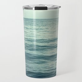 Seascape Photography, Teal Ocean Art, Dark Turquoise Minimal Sea Photo, Blue Ocean Coastal Print Travel Mug