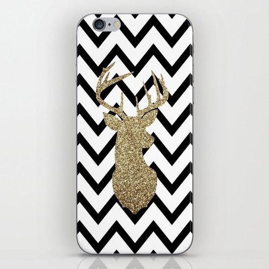 Glitter Deer Silhouette with Chevron iPhone Skin by Dani