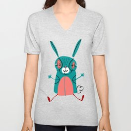 Bunny illustration, great nursery decor, art for kids, animal decor,look for other animals in our shop Unisex V-Neck