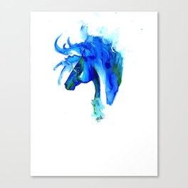 Blue Horse in ink Canvas Print