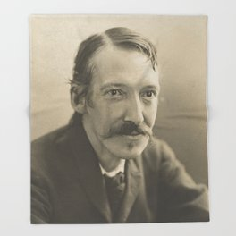 Vintage Robert Louis Stevenson Photo Portrait Throw Blanket