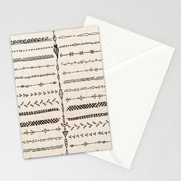 Vintage white modern black bohemian aztec pattern Stationery Cards