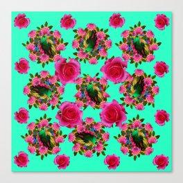 GREEN PEACOCK & PINK ROSE PATTERN ART Canvas Print