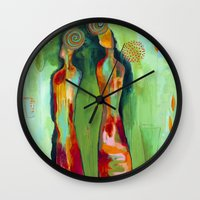 """flora bowley Wall Clocks featuring """"Two Flowers"""" Original Painting by Flora Bowley by Flora Bowley"""