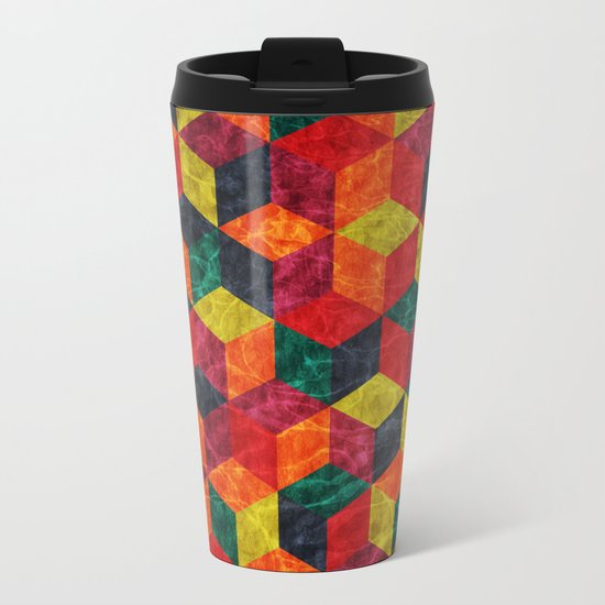 Colorful Isometric Cubes IV Metal Travel Mug