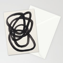 Mid Century Modern Minimalist Abstract Art Brush Strokes Black & White Ink Art Spiral Circles Stationery Cards