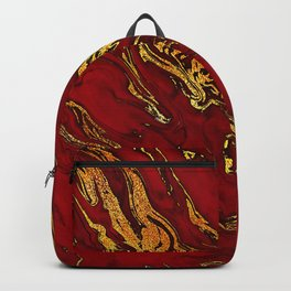 Chic Elegant Fire Red Ombre Glitter Marble Backpack