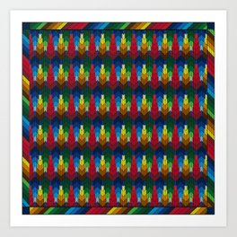 Trees in the style of bargello needle point Art Print