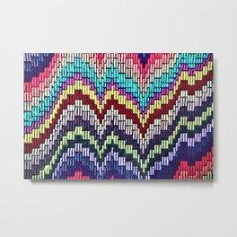 Bargello waves - peace, love and rainbows Metal Print