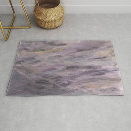 Touching Lavender Black Gold Watercolor Abstract #1 #painting #decor #art #society6 Rug