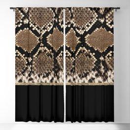 Modern black brown gold snake skin animal print Blackout Curtain