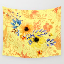 Watercolour Spring Flowers Wall Tapestry