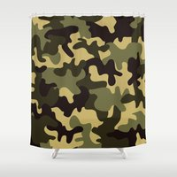 camouflage Shower Curtains featuring Camouflage  by Katie Zimpel