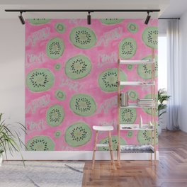 Watercolor Kiwi Slices in Neon Pink Punch Wall Mural